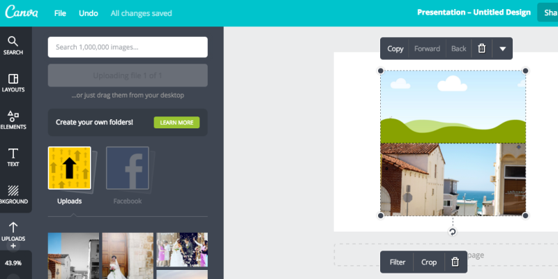 Then just choose the frame you want and once your photos have uploaded you can drag them to the frame.